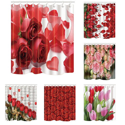 Waterproof Shower Curtains Flowers Printed Bathroom Screens Home Decor Polyester Fabric Mildew Proof with 12 Hooks Eco-Friendly