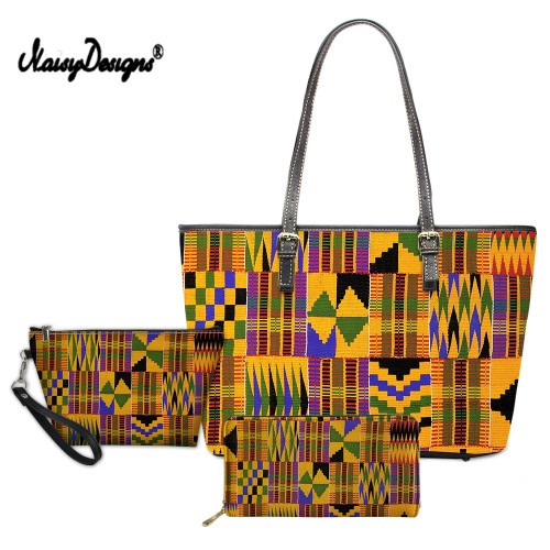 Ladies African Traditional Art Print 3 pcs/set Women Handbags&Wallet Luxury Top-Handle Bags Females Leather Shoulder Tote Bag