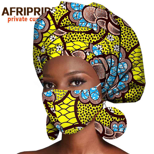 African Headwrap Earrings Hair Accessories Scarf Bonnet Ankara Wax Fabric Head Turban African Headscarf Mask Match Print A20H004