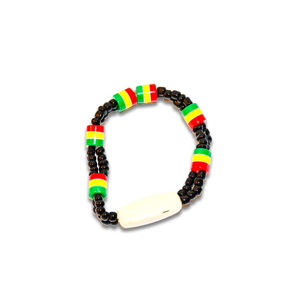 Hand made African beads. Consists of layers of different colors. Accentuates natural beauty.