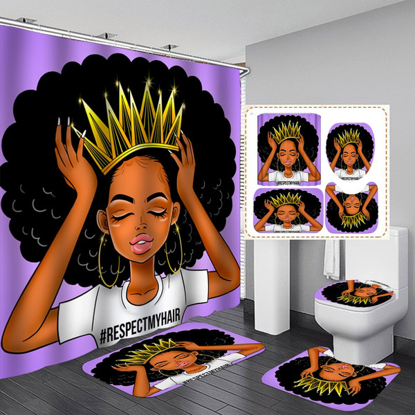 Purple African Women with Crown Waterproof Shower Curtain Fashion Afro Girl Queen Princess Non-Slip Bathroom Mat Rugs Set