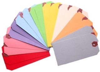 """Made of colored stock with a smooth writing surface. Identify and tag items that you want grouped together or separately. These tags come in groups of a thousand and have plenty of multifaceted uses. The #5 tag is 4 3/4"""" x 2 3/8"""". Colors available are: Blue, Glo Pink, Green, Orange, Pink, Red, White, and Yellow."""