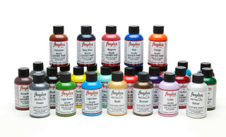 Angelus Acrylic Leather Paint - Rainbow Colors: Scarlet Red, Orange, Yellow, Green, Blue, Navy Blue, Burgundy, and Brown. Perfect for custom painted leather shoes!