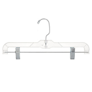 """These 14"""" clear plastic skirt and pant hangers are engineered for strength with added elastomers for maximum flexibility. Each hanger features securely anchored bright plated swivel hooks, hang bars and super strong padded metal clips."""