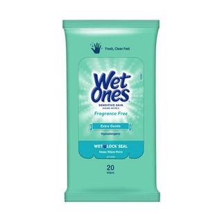 Green Sensitive Wet Ones Travel Pack (20 Wipes)