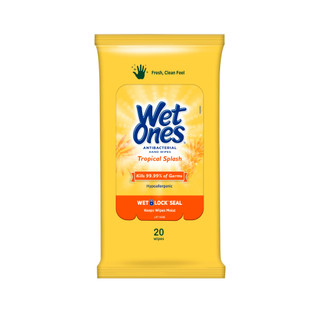 Yellow Tropical Splash  Antibacterial Wet Ones Travel Pack (20 Wipes)