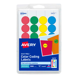 """Color Coding Assorted Dots -3/4"""" (1000)"""