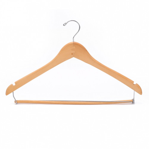 Give your clothes the royal treatment when you hang them on these classic wood hangers. Set of 30 sturdy wood hangers keep fabrics from snagging and help clothing maintain its shape. Made of durable light wood with metal necks, these classic hangers keep clothes in their place and off the floor.