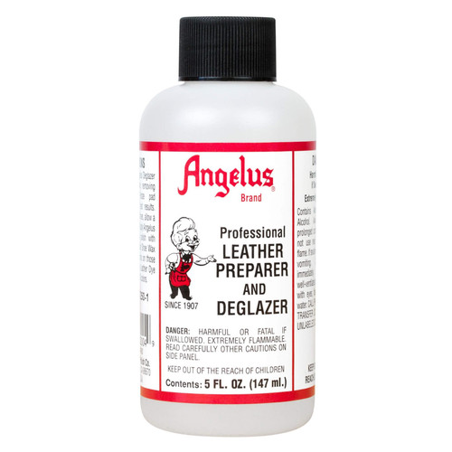 Angelus Leather Preparer & Deglazer is a very strong cleaner to prepare articles for dyeing or painting.