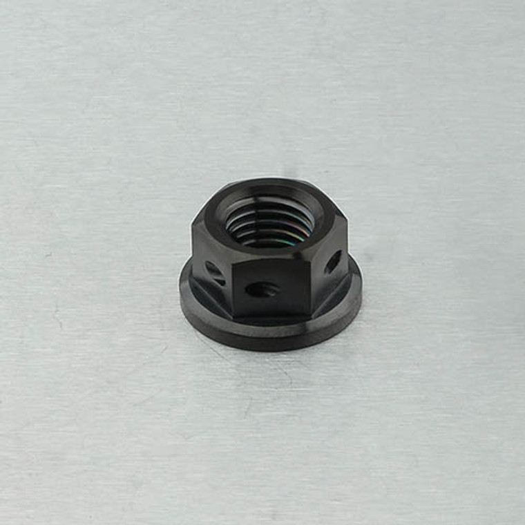 Titanium Sprocket Nut M10 x (1.25mm) Drilled Black