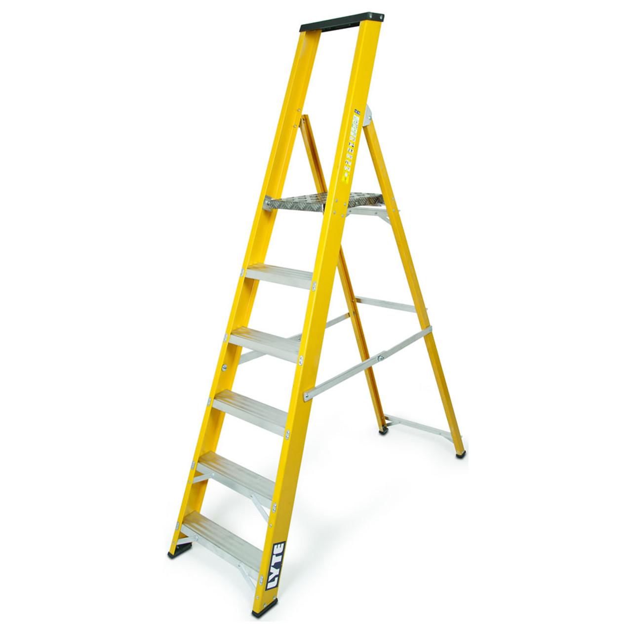 Lyte 6-Tread High Quality British Made Glassfibre Swingback Step Ladder