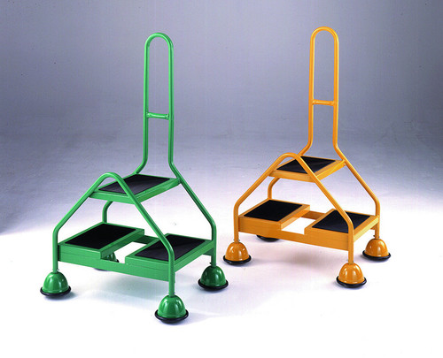 Double Sided Mobile 2 Step - Single Handle, Ribbed Rubber Treads