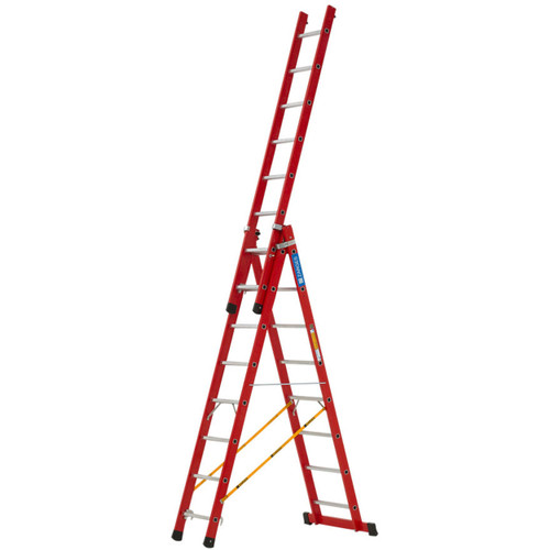 Zarges EN131-2 Professional 3-Part Fibreglass Skymaster Combination Ladder