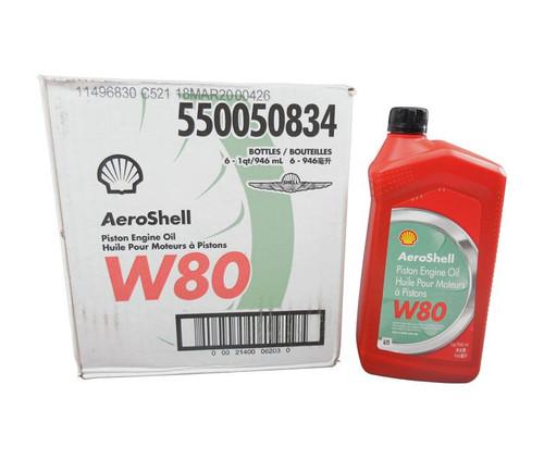 AeroShell™ Oil W 80 SAE Grade 40 Ashless Dispersant Aircraft Piston Engine Oil - 6 Quart/Case