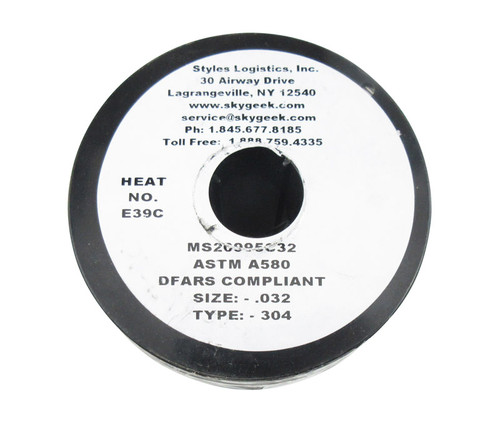 """Military Standard MS20995C32 Stainless Steel 0.032"""" Diameter Safety Wire - 5 lb Spool"""