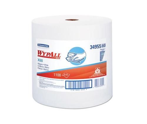 "WypAll® 34955 X60 White 12.5"" x 13.4"" Wiper - 1100 Sheet/Jumbo Roll"