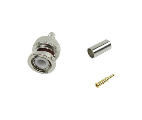 Amphenol RF 112514 Brass/Nickle RG-55, RG-142, RG-223, RG-400 Straight BNC Crimp Style Plug