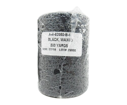 Military Specification A-A-52080-B-4 Black DFAS Compliant Nylon/Waxed Finish Tape, Lacing & Tying Cord - 500 Yard Spool