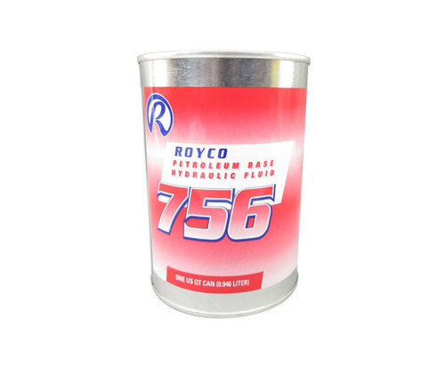 ROYCO® 756 Red MIL-PRF-5606H Amend. 3 Spec Mineral Oil Based Aircraft Hydraulic Fluid - Quart Can