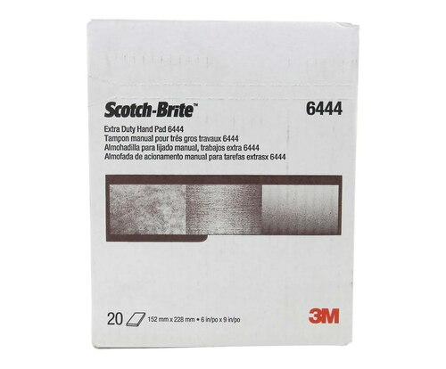 "3M™ 048011-16553 Scotch-Brite™ 6444 Brown Fine 6"" x 9"" Extra Duty Hand Pad - 20 Pads/Box"