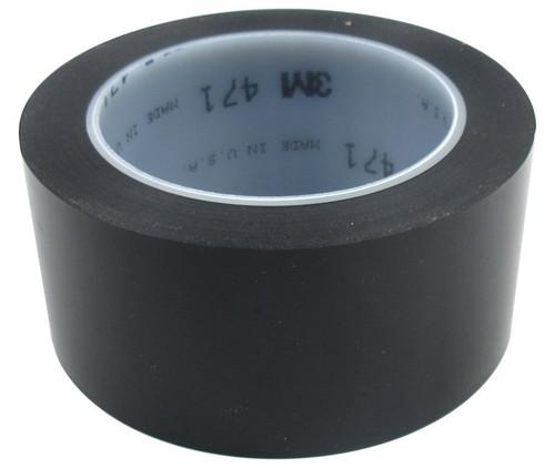 """3M™ 021200-04306 Black 471 Vinyl 5.2 Mil Tape - 2"""" x 36 Yard Roll"""