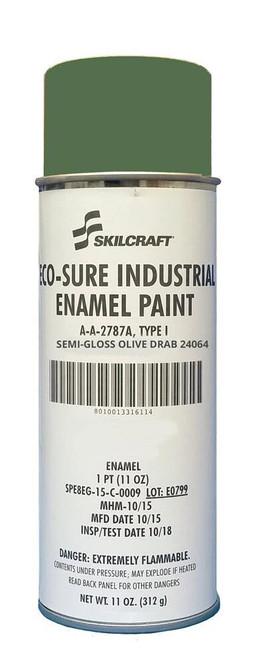 Skilcraft® 0674-241 ECO SURE® FS 24064 Semi-Gloss Olive Drab A-A-2787A Type I Spec Industrial Enamel Paint - 11 oz Aerosol Can