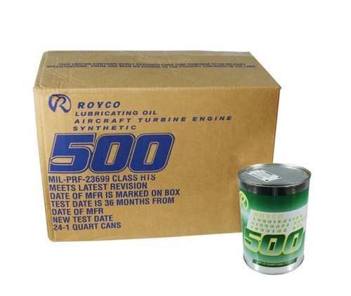 ROYCO® 500 Clear MIL-PRF-23699G Spec Synthetic Gas Turbine Engine Oil - 24 Quart/Case