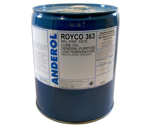 ROYCO® 363 Yellow MIL-PRF-7870 Spec General Purpose Low Temperature Oil - 5 Gallon Steel Pail