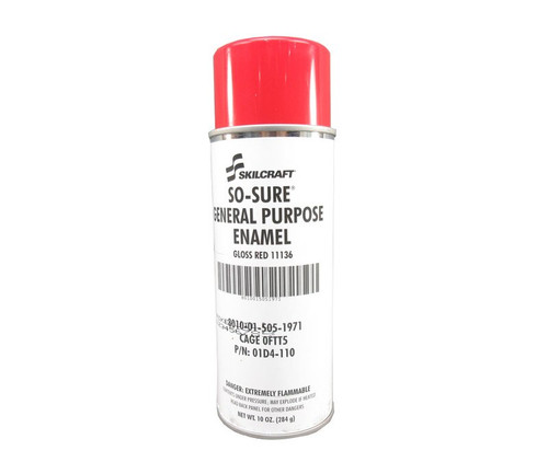 Skilcraft® 01D4-110 SO SURE® FS 11136 Gloss Red General-Purpose Enamel Paint - 10 oz Aerosol Can