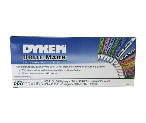 ITW Dykem 84001 BRITE-MARK® Blue Medium Permanent Marker
