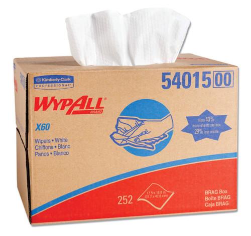 "WypAll® 54015 X60 White 12-1/2"" x 16-4/5"" Cloth Wipers - 252 Sheet/Brag-Box"