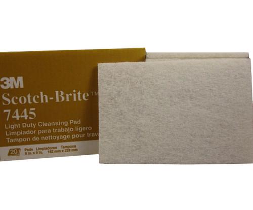 """3M™ 048011-16976 Scotch-Brite™ 7445 White Super Fine 6"""" x 9"""" Cleansing Hand Pad - 20 Pads/Box"""