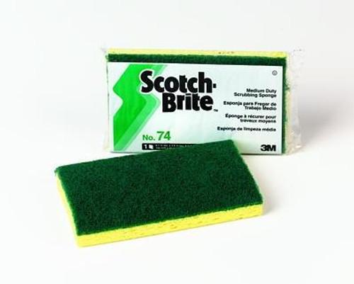 3M™ 048011-20688 Scotch-Brite™ 74 Yellow/Green Heavy Duty Scrubbing Sponge - 20 Sponge/Case