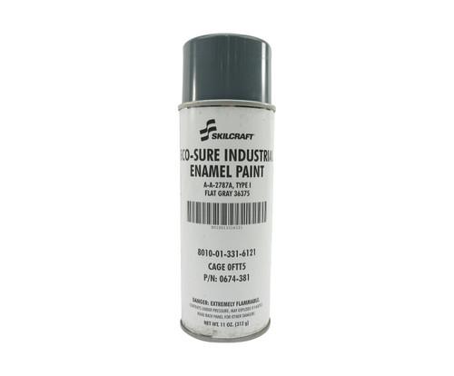 Skilcraft® 0674-381 ECO SURE® FS#36375 Flat Gray A-A-2787A Type I Spec Industrial Enamel Paint - 11 oz Aerosol Can
