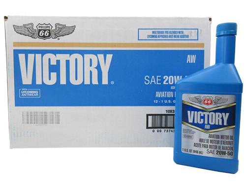 Phillips 66® Victory® AW 20W-50 Multi-Grade Piston Engine Aircraft Oil - 12 Quart (946 mL) Case