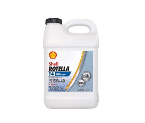 Shell 550045127 ROTELLA® T4 Triple Protection™ 15W-40 (CK-4) Heavy-Duty Diesel Engine Oil - 2.5 Gallon Jug