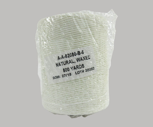 Military Specification A-A-52080-B-5 Natural DFAS Compliant Nylon/Waxed Finish Tape, Lacing & Tying Cord - 500 Yard Spool