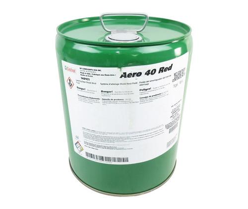 Castrol® Aero™ 40-Red DPM 6176 Spec Petroleum Based ISO 15 Aircraft Landing Gear Shock Strut Fluid - 5 Gallon Steel Pail
