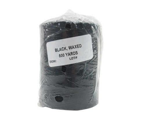 Military Specification A-A-52081-B-3 Black DFAS Compliant Polyester/Waxed Finish Tape, Lacing & Tying Cord - 500 Yard Spool
