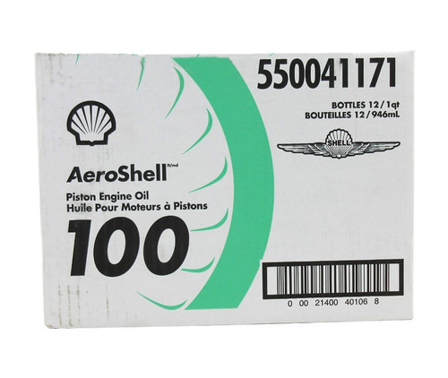 AeroShell™ Oil 100 SAE Grade 50 Mineral Aircraft Piston Engine Oil - 6 Quart/Case