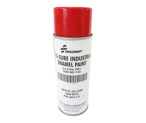 Skilcraft® 0674-111 ECO SURE® FS 11136 Gloss Red A-A-2787A Type I Spec Industrial Enamel Paint - 11 oz Aerosol Can