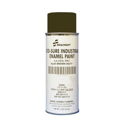 Skilcraft® 0674-395 ECO SURE® FS 30277 Flat Brown A-A-2787A Type I Spec Industrial Enamel Paint - 11 oz Aerosol Can