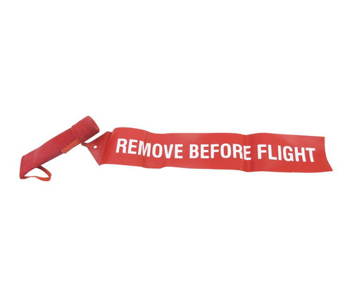 """Sesame Technologies KPC3-480-325 Red Single Layer Kevlar® Flame-Retardant Pitot Cover with 2"""" x 12"""" Streamer Flag"""