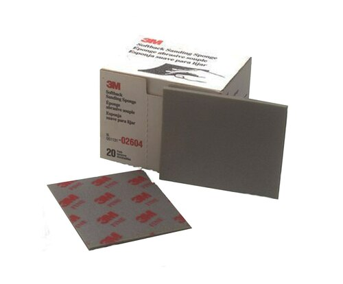 "3M™ 051131-02604 Gray 4-1/2"" X 5-1/2"" Softback Fine Sanding Sponge - 20 Sponges/Box"