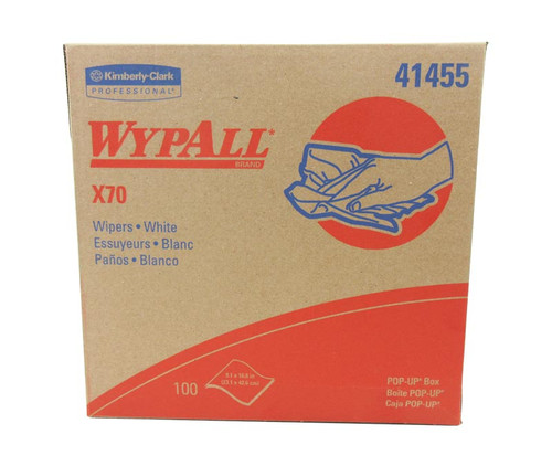 """WypAll® 41455 X70 White 9.1"""" x 16.8"""" Reusable Paper Towels - 100 Towel/Pop-Up Box"""