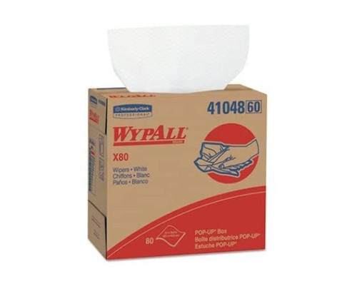 """WypAll® 41048 X80 White 9.1"""" x 16.8"""" Extended Use Wiper - 80 Wipe/Pop-Up Box"""