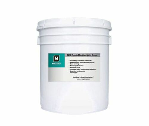 Dupont™ 2722119 MOLYKOTE® 3452 White Translucent Chemical Resistant Valve Grease - 18.1 Kg (40 lb) Pail