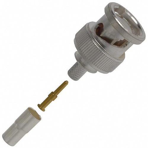 TE Connectivity 2-331350-6 Brass/Silver RG-180A & RG-195 Male Crimp BNC Connector, Plug, Electrical