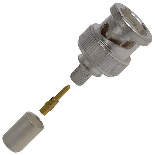 TE Connectivity 2-330358-2 Brass/Silver RG-142, A & B Male Crimp BNC Connector, Plug, Electrical