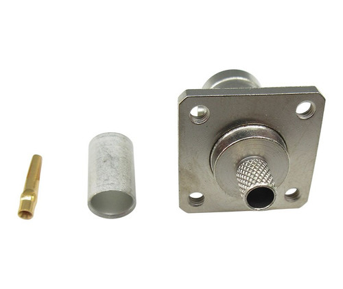 TE Connectivity 225397-1 Copper/Silver RG-58, A, B & C Female Crimp BNC Panel Connector, Plug, Electrical